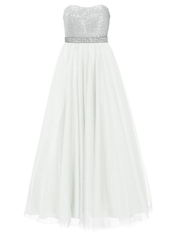 Bruidsjpaon met wijde tulle rok, en een silver glitter strapless bovenlijfje