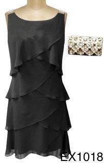 jurk, zwart, galajurk, cocktailjurk, feest, party, partydress, dress, chiffon, halter, black, trouwen, gala, communie, communiejurk